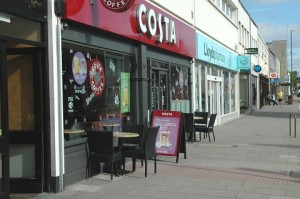 Tables and chairs outside Costa Coffee in Keynsham this week
