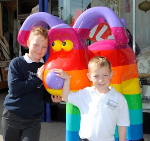 Jack and Toby Cavanagh from Downend meet Gromit in Staple Hill