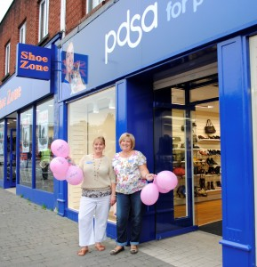 The manager of the new PDSA shop, Rachel Gould, left, with volunteer Sarah Tickner