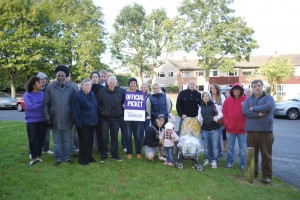 Striking staff outside Vinney Green