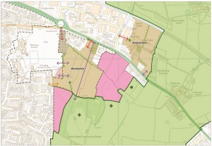East of Keynsham. Land in pink is 'safeguarded' for development post 2029.