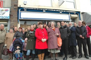 Business owners and residents outside the former Hanham Eyecare premises on the High Street