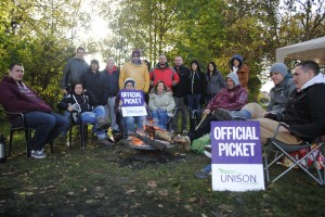 Staff on the picket line outside Vinney Green today