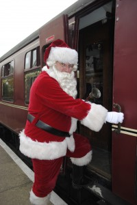 Father Christmas boards the steam train at Bitton today for the first of the Santa Specials