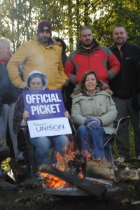 Workers from the Vinney Green Secure Unit on the picket line this week