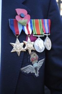 A veteran's medals proudly displayed at the service in Hanham today