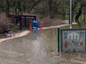 The footbridge in Keynsham Park has been closed amid concerns for its safety but is impassable anyway