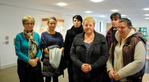 Some of the Grange parents who attended today's meeting to hear the council decide to consult on its closure