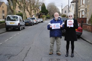 Campaigners Phyllis and Vernon McVeigh: they say traffic coming along The Avenue will not be able to continue into Beaufort Road beyond where they are standing