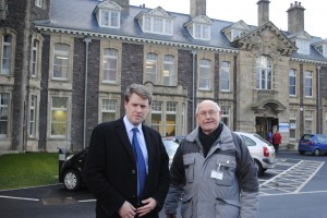 Chris Skidmore MP with leading  campaigner Reg Bennett outside Cossham Hospital last month