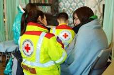 Red Cross volunteers have been helping out in communities in flood-hit Somerset