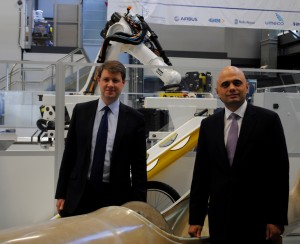 Sajid Javid with Kingswood Chris Skidmore MP on a  recent visit to the National Composites Centre at Emersons Green