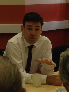 Andy Burnham talks to Cossham campaigners