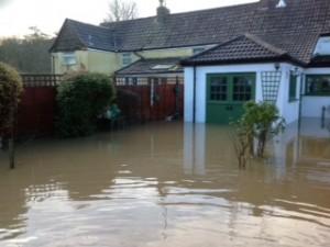 Steve Godwin's back garden under three feet of water