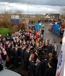 Crowds wait to give Jenny a send-off on her journey from Downend School to City Hall