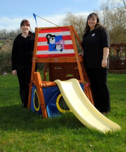 Rebecca Lewis and Amy Hughes, from Leaping Lambs Nursery on the A431 at Swineford