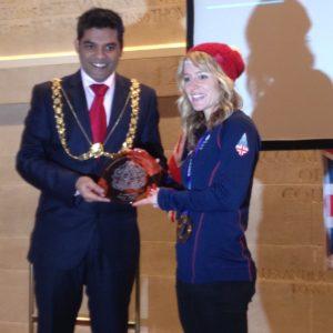 Jenny with the Lord Mayor of Bristol  Cllr Faruk Choudhury