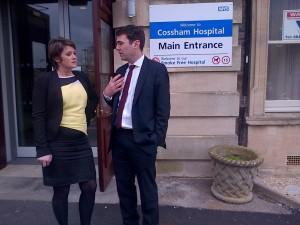 Jo McCarron and Andy Burnham at Cossham Hospital