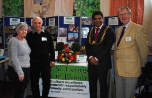 The Lord Mayor at the St George in Bloom stand with, from left,