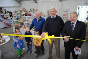 Avon Valley director Jack Jenkins, left, park owner John Douglas, centre, and Cllr Bryan Organ (Keynsham East, Con) with some young visitors