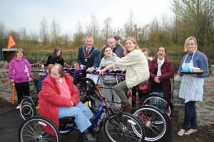 Cllr Ian Boulton, chairman of South Gloucestershire Council, cuts the ribbon to officially open Warmley Wheelers