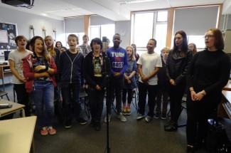 Students at John Cabot Academy recording backing vocals today for the protest song, with Rhian centre front