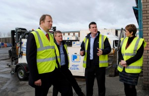 Labour's Shadow Minister for Small Businesses toby Perkins, left with John & Andy Pullin and Jo McCarron