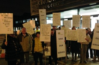 Councillors arriving at the meeting were met by protesters from WE Care & Repair