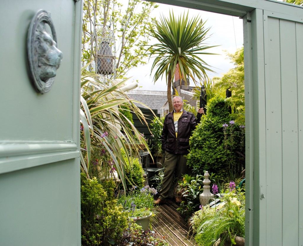 Grenville Johnson in his garden