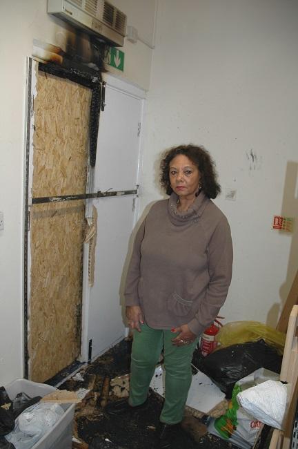Sandra Parker surveys the damage
