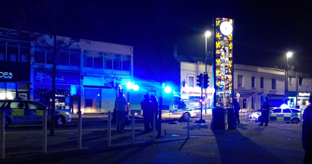 The area around the clock tower cordoned off on Saturday night