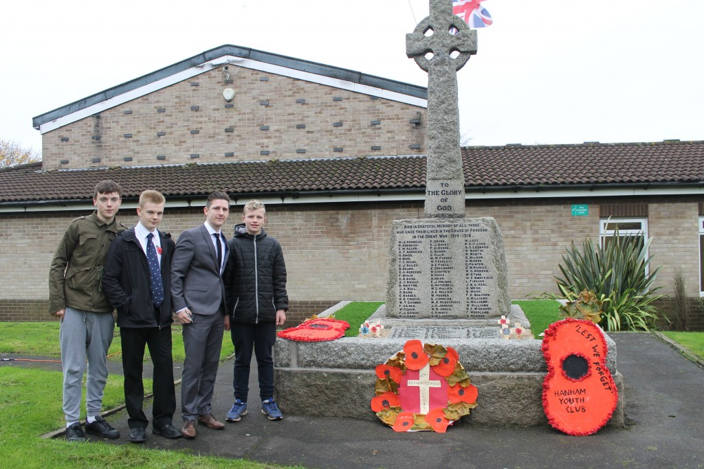 Hanham Youth Club's poppy tribute at the war memorial