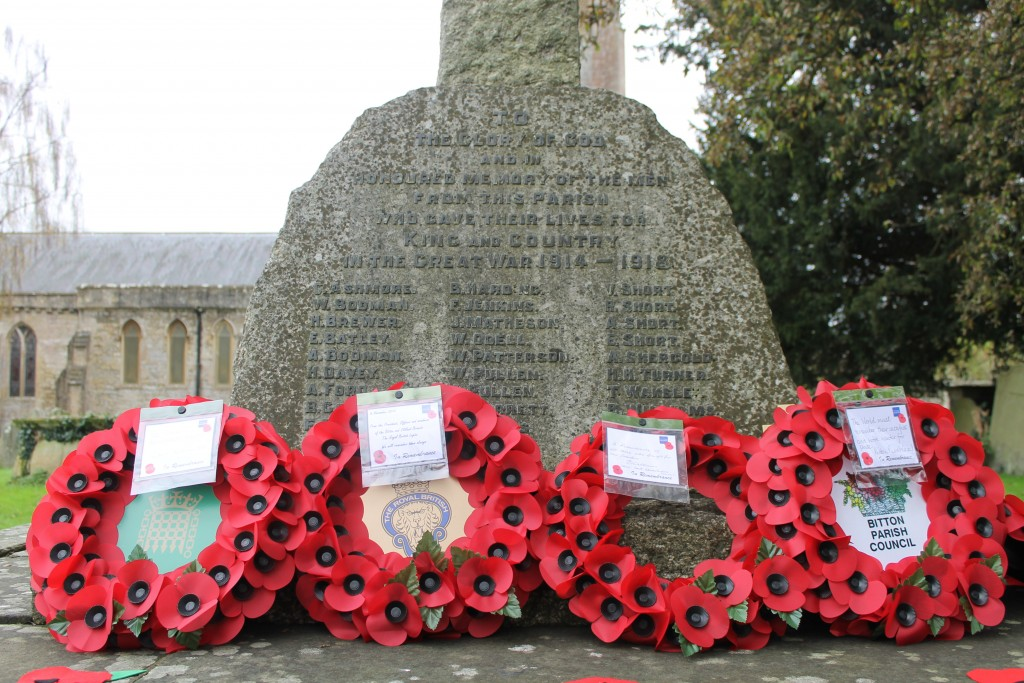 The Bitton & Oldland branch of the Royal British Legion attended today's service at St Mary's at which wreaths were laid at the war memorial in the churchyard