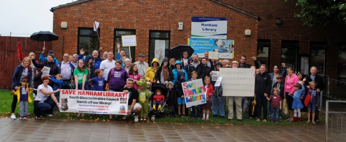 Campaigners out in force outside Hanham Library today