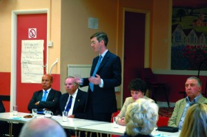 Jacob Rees-Mogg addressing a Green Belt campaign meeting in Whitchurch back in 2008