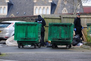 Police searching bins at St George's House this afternoon